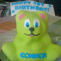 Gummy Bear Cake The fondant is marshmallow with neon color.