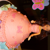 Birthday Cake Chocolate cake with buttercream icing. Butterfly candies around the cake.