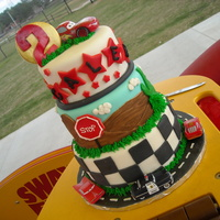 Cars Cake This was for my son's 2nd bday....I was so excited about making him a caddy wompas Wiggles cake, but when the time came, he hadn'...