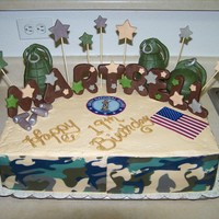 National Guard Birthday Cake this cake is a butter cake with buttercream icing .The hand grenades are RCT with modeling chocolate the name and bullets also is done in...
