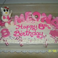 Hello Kitty This was for my niece she was so happy and suprised with is cake it is a butter cake with cream cheese frosting and MC toppers