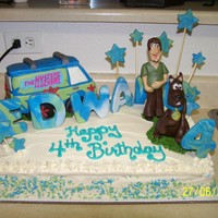 Scooby Birthday french vanilla with modeling chocolate characters RCT mystery machine van