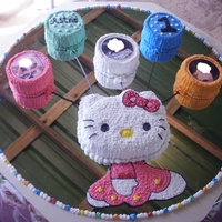 Hellow Kitty 1St Year Birthday Cake The balloons have the picture of a girl in rice paper. When the baby was born, at six months and first year.