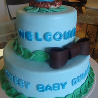 "Baby Bird Themed Baby Shower Cake  This is a cake I made for a good friend's shower, TFL! 10"" and 6"" scratch butter cake, ganache, homemade fondant (not MMF,..."