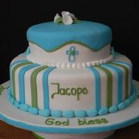 "Baptism Cake This cake was for the baby of an Italian couple (Jacopo is Jacob in Italian). They wanted to incorporate Italian candy, called ""..."