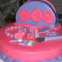 Makeup Theme Cake made this cake for my niece . It's a makeup theme cake not too happy with the results i was having problems with the purple fondant i...