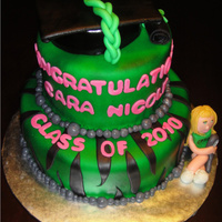 Green Black Zebra Graduation Cake Red velvet cake covered in fondant then airbrushed green. Black zebra stripes on the bottom tier. There is a graduation cap (also made of...