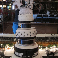 Black And White Wedding Cake Wedding cake for my GF. My 1st full fondant cake. Had to take top tier off because it tilted. Cake did survive a VERY windy and very steep...