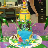 Fisher Price Animals Of The Rainforest  I am completely self taught and this is my first tiered cake with 3d animals. The cake topper is a replica of one of the rainforest toys. I...