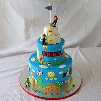 "Super Mario Brothers 6"" and 10"" cakes. Iced in buttercream (sugarshack's recipe) with fondant decorations. The figures were store bought. My 9..."