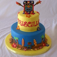 "Luau 6"" and 10"" vanilla butter cake with chocolate ganache filling. All fondant. Thanks!"