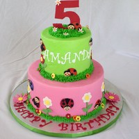 "Ladybug Birthday Made to match the party theme, from bithdayexpress. 6"" and 10"" vanilla butter cakes with cookies and cream filling. Buttercream..."