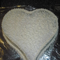Heart With Scrolls...sort Of. Single layer heart cake, iced with scroll-ish pattern