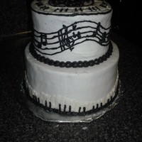 Music Cake White buttercream, black and white musical accents.
