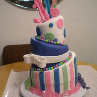 """sweet"" 16 My nieces ""sweet"" cake. Fondant, sixlets and rock candy. White cake and chocolate filling."