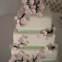 Minty Cherry Blossom Gumpaste flowers, fondant cake. Made for my husbands friend.