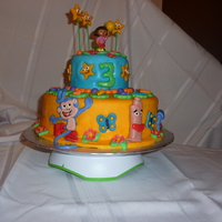 Dora Theme Cake Dora is a candle, all other details are made out of gum paste and fondant.