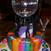 Disco Birthday Cake Disco cake was made for granddaughter's 11th birthday. Two layers of white cake with cream filling were covered with white buttercream...