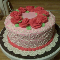 Roses For Valentine's Day This Valentine's cake was for a customer who wanted all buttercream decorations. It''s modeled after a Wilton design, only...