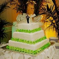 "My First Wedding Cake This was my very first wedding cake :) I hope to make many more. I used 8"", 12"", and 16"" square cakes. All are iced with BC..."