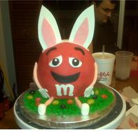 M&m Bunny :)  Thanks SO much for posting m&m bunny cakes and giving me inspiration. I would have never thought of this cake on my own. This went to a...