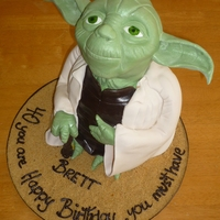 Yoda In 3D This was a cake I made for a friends husband who LOVES starwars.the head was made using rice crispy's and the body was in white and...