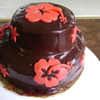 Hibiscus And Ganache  This little ganache cake is probably about 4 inches around the base and 2 inches for the top tier. It's chocolate with Hibiscus...