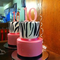 "Zebra Birthday Cake   I made the ""10"" with my cricket cake out of gumpaste."