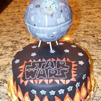 Star Wars Death Star Cake Star Wars Cake for my husband's 33rd bday. He is a major SW fan and wanted a cake with the death star. Death star made of rice crispy...