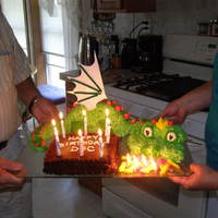 "Fire Breathing Dragon I made this fire breathing dragon cake for my grandson's 12th birthday. He couldn't believe it was ""homemade"". The..."