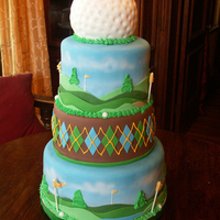 Golf Tournament Cake A cake my sister & I made for a local Golf Tournament. Airbrushed gradient sky and clouds. Everything else is fondant and royal icing....
