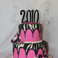 "Pink & Zebra Graduation Cake This was a cake I made for a sweet young lady graduating from high school. She specifically asked for ""hot pink, zebra stripes &..."