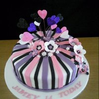 Flowers And Hearts Birthday Cake