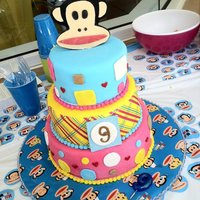 Paul Frank Julius Made this for my daughter's 9th birthday. WASC on the bottom, Marble middle, and chocolate with whipped chocolate ganache top tier....