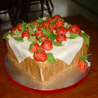 Strawberry Birthday I made this for my sister-in-laws birthday. All decorations are fondant and hand painted. This was time consuming, but lots of fun. It is...
