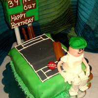 Cricket Themed Bday I made this for my hubby who is an avid cricket fan. Chocolate cake with strawberry BC filling and fresh strawberries..fondant decor.