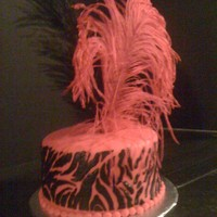 Zebra Stencil Feather Cake