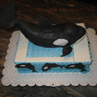 Shamu To You! Shamu is sculpted our of cereal treats and fondant. Cake is buttercream with fondant accents.