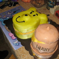 Winnie The Pooh more of my nephews cake.. all fondant air brushed winnie, hunny jar is all cake with colored fondant. chocolate cake with chocolate bc. the...