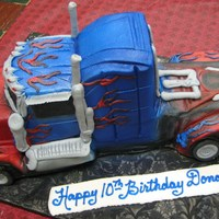 Truck This was a semi that we did for a child who wanted a transformer like cake