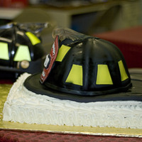 Fire Helmet You can see the actual helmet in the background. Every thing on the cake is edible