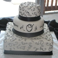 Black And White Wedding Square base; black swirls and monogram