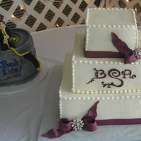 Square Cake With Keg Groom's Cake square wedding with beer keg groom's cake. Ribbon is fondant