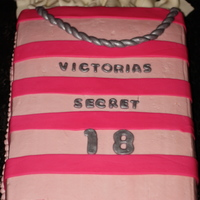 Victoria's Secret   12X18 WASC cake. Iced in light pink buttercream. Fondant letters, bag handles, tissue, and hot pink stripes.