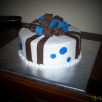 Blue And Brown Bow Cake