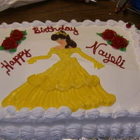 "Belle Tres Leches cake with whipped icing, Disney""s Belle from Beauty and the Beast,w red roses!"