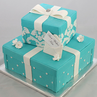 Tiffany Box Cake Ii Second version of a Tiffany Box shower cake for a recent bridal show.
