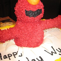 3-D Elmo Inspiration from the many Elmo cakes that have already been done. I used buttercream frosting with mereguine powder to help stiffen it. I...