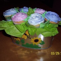 Cupcake Bouquet #2   Playing around with different types of containers. Comments welcome!