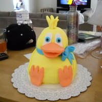 Duck Cake 3D duck cake made for my friend's birthday. Body is made with ball pan, head is carved. The whole cake is fondant covered. Let's...